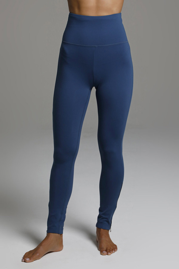 Long High Waist Zip Up Yoga Leggings in Oceana Blue