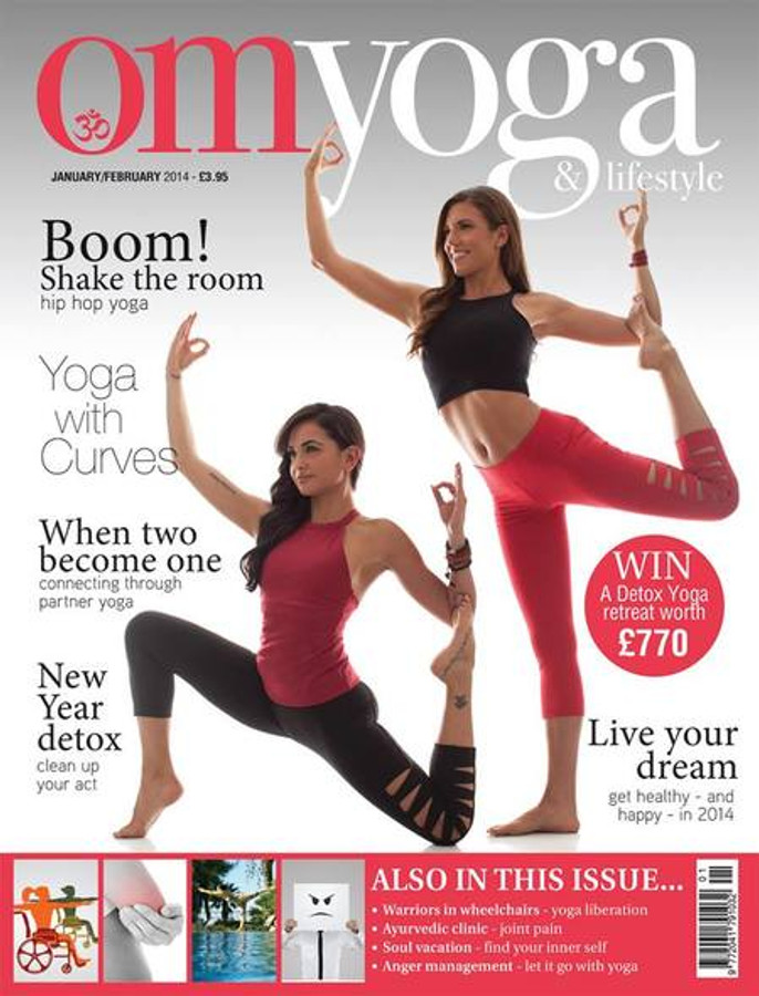 Omyoga Magazine cover Jan/Feb 2013, featuring the Grace Yoga Halter with Warrior Tough Cut Leggings