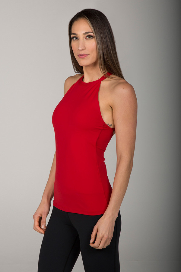 Grace Yoga Halter Top Ruby Red