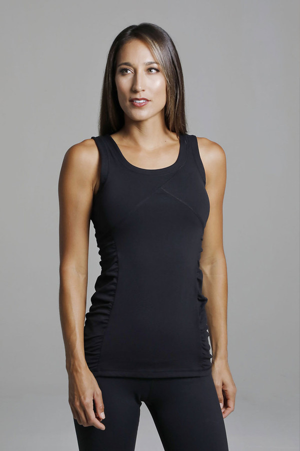 Black Long Yoga Tank Top with Thick Straps front view
