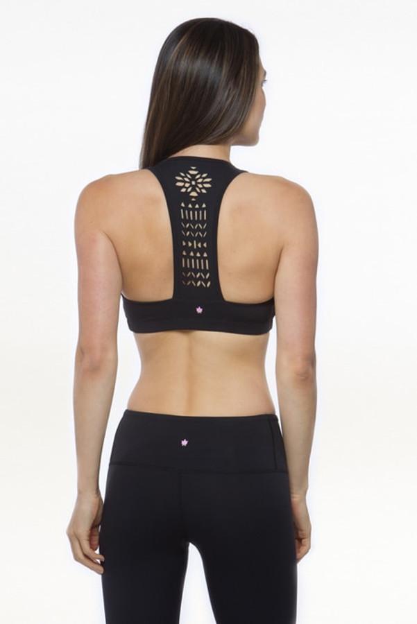 Black Warrior Laser Cut Out Yoga Bra Tops
