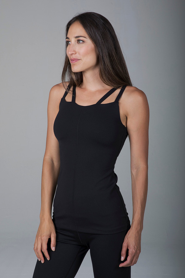 Warrior Caged Yoga Tank (Black)