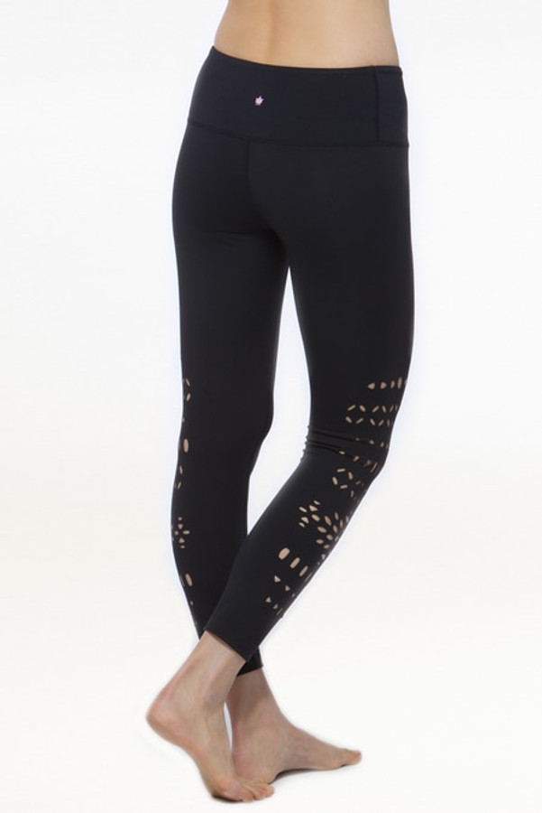 Black Warrior Laser Cut Out Yoga Leggings