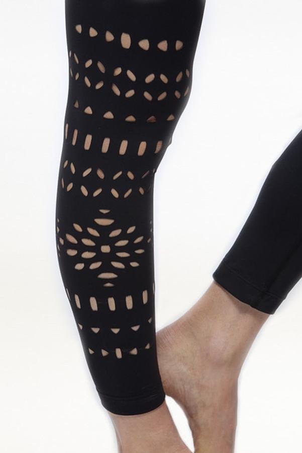 Black Warrior Laser Cut Out Yoga Leggings