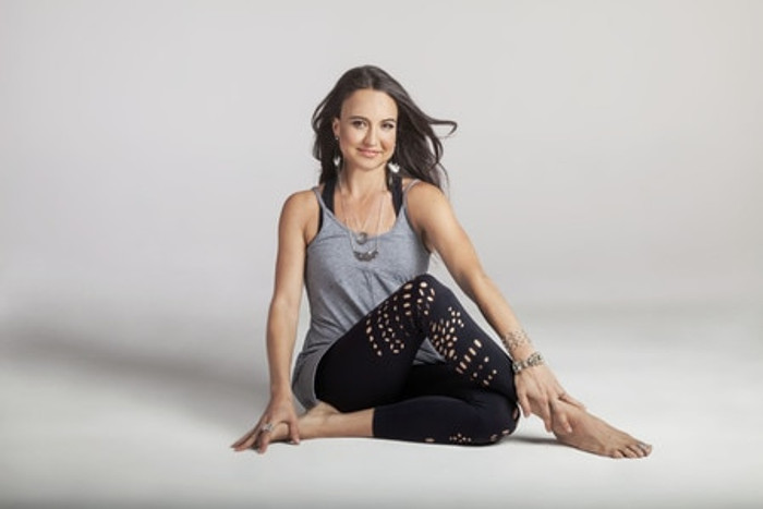 Black Warrior Laser Cut Out Yoga Leggings Outfit Tiffany Cruikshank