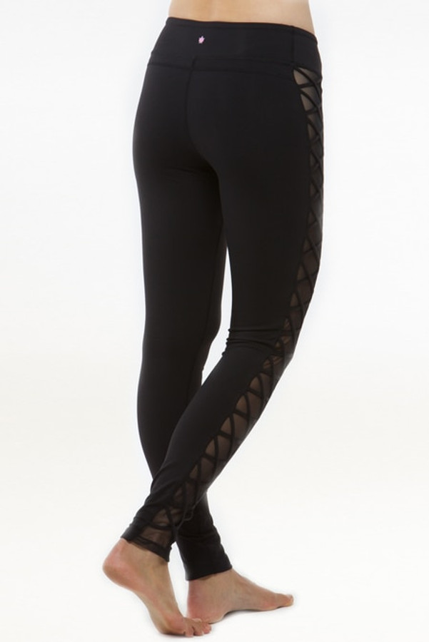Romance Lace-Up Mesh Yoga Legging (Black)
