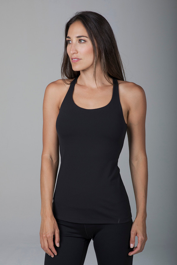 Supportive Black Tank Top with Built-In Bra