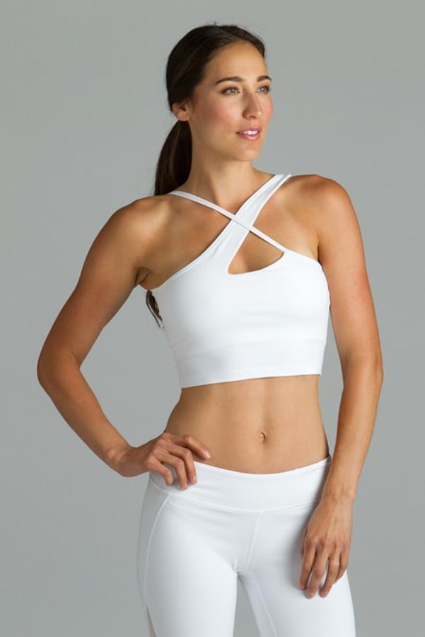 White warrior victoria yoga halter crop tops bra