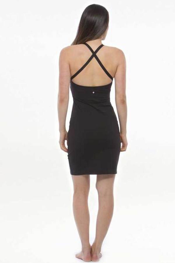 KiraGrace Yoga Halter Dress in Black back crossed strap design