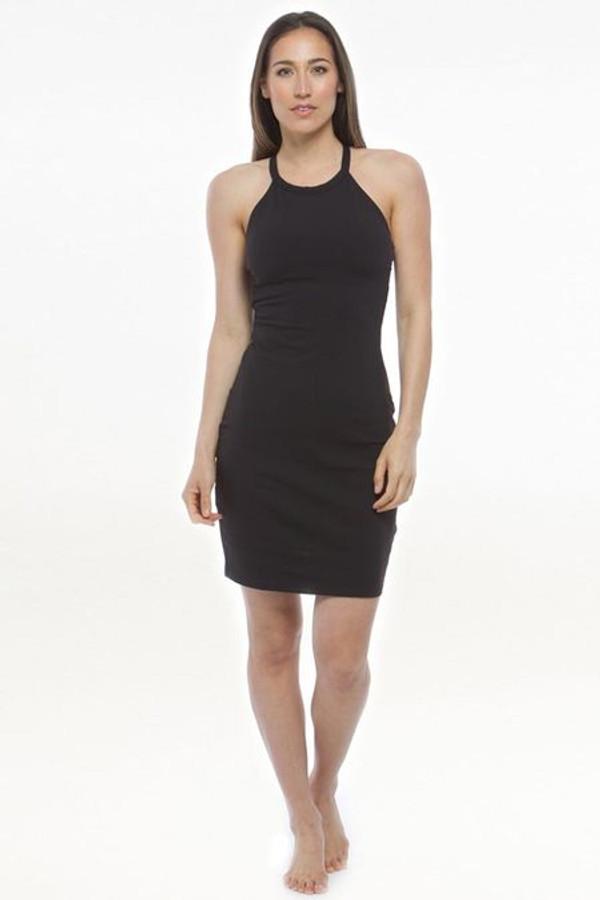 KiraGrace Yoga Halter Dress in Black front