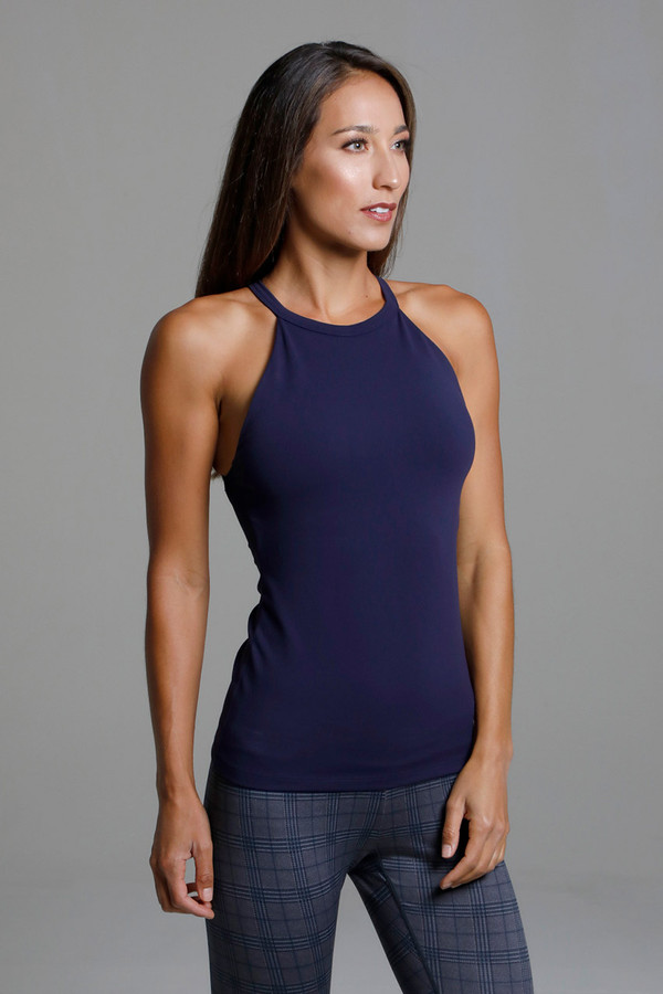 High Neck Navy Blue Yoga Halter Tank top