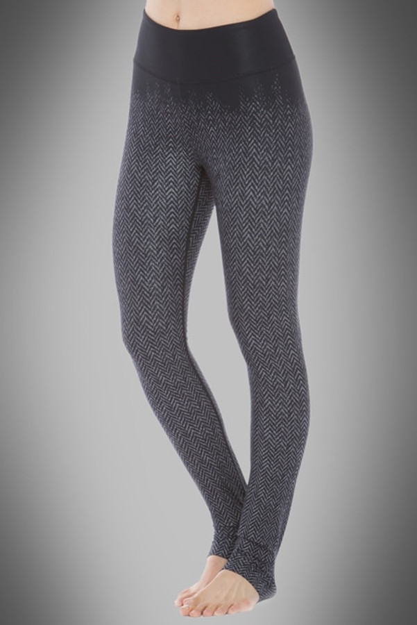 Model wearing KiraGrace High Waisted Herringbone Printed Yoga Leggings