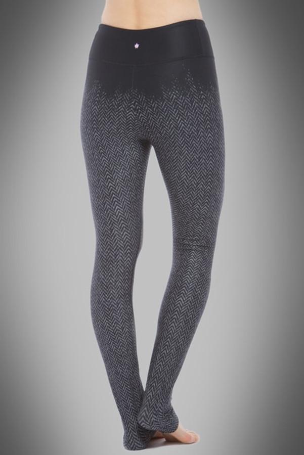 Model wearing KiraGrace High Waisted Herringbone Printed Yoga Leggings back view