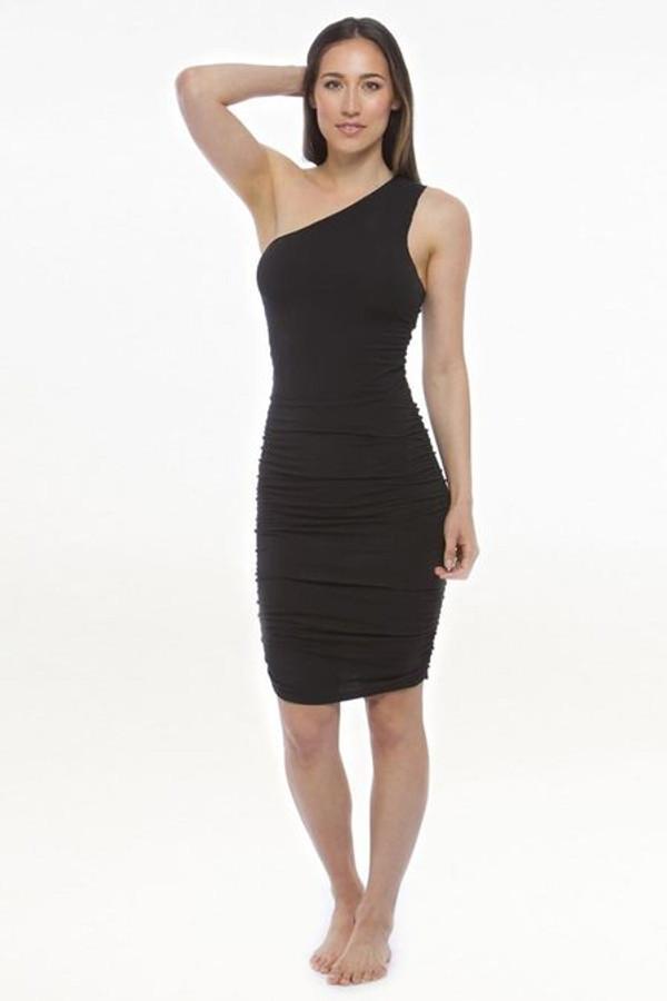 Model wearing KiraGrace One Shoulder Dress in Black front