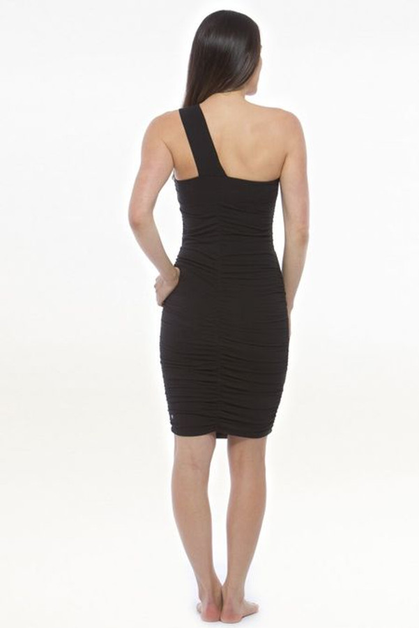 Model wearing KiraGrace One Shoulder Dress in Black back