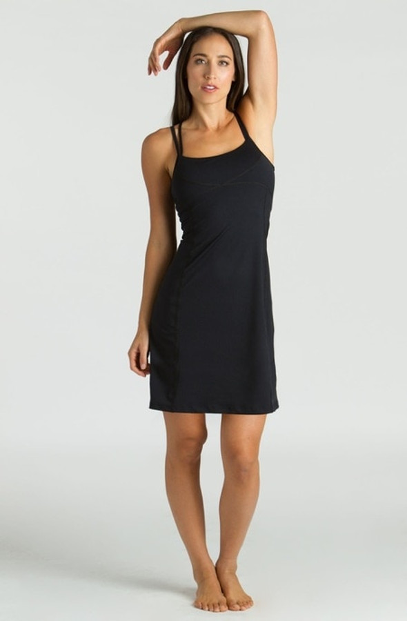 Model wearing KiraGrace Corset Yoga Dress in Black