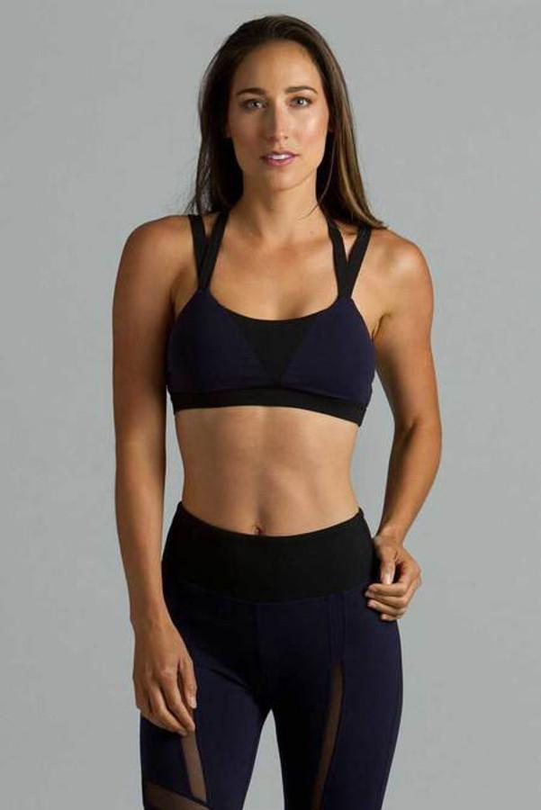 Navy Strut Yoga Bra Front
