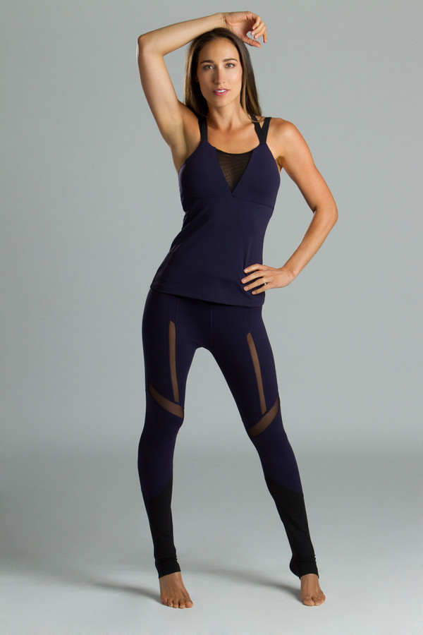Strut Legging navy and black mesh sexy yoga outfit