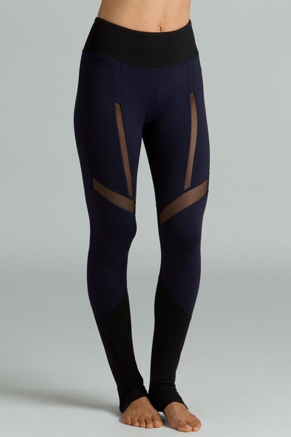 Strut Yoga Legging navy and black mesh side