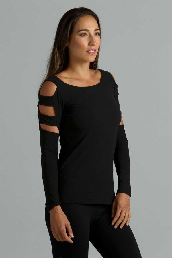 Goddess Lattice Sleeve Yoga Top (Black)