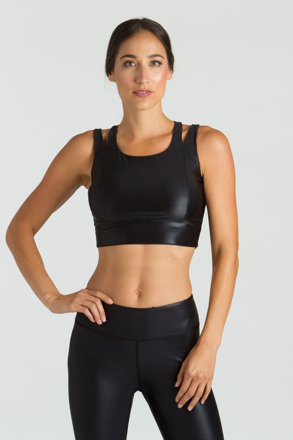 KiraGrace Yoga Crop Top in Black Lacquer front