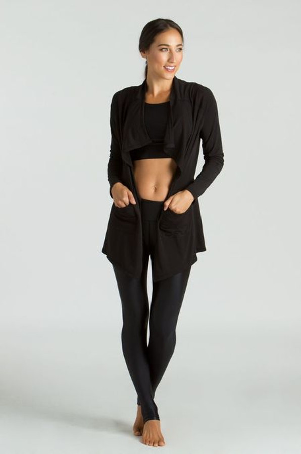 KiraGrace Grace High Waisted Yoga Leggings in Black Lacquer outfitted with Grace Yoga Crop Top in Black Lacquer