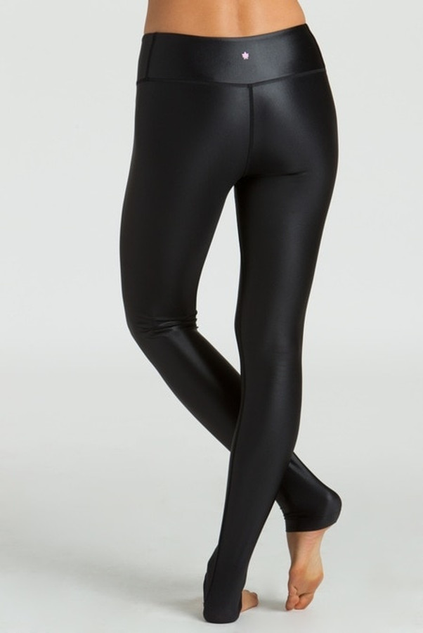 KiraGrace Grace High Waisted Yoga Leggings in Black Lacquer back