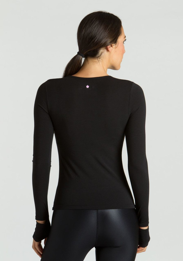 KiraGrace Cut-Out Sleeve yoga Top in black back