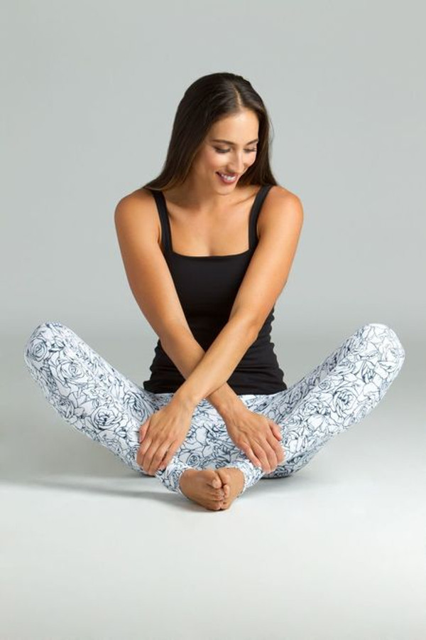KiraGrace Etched Floral Printed Yoga leggings paired with Refined Cami in black