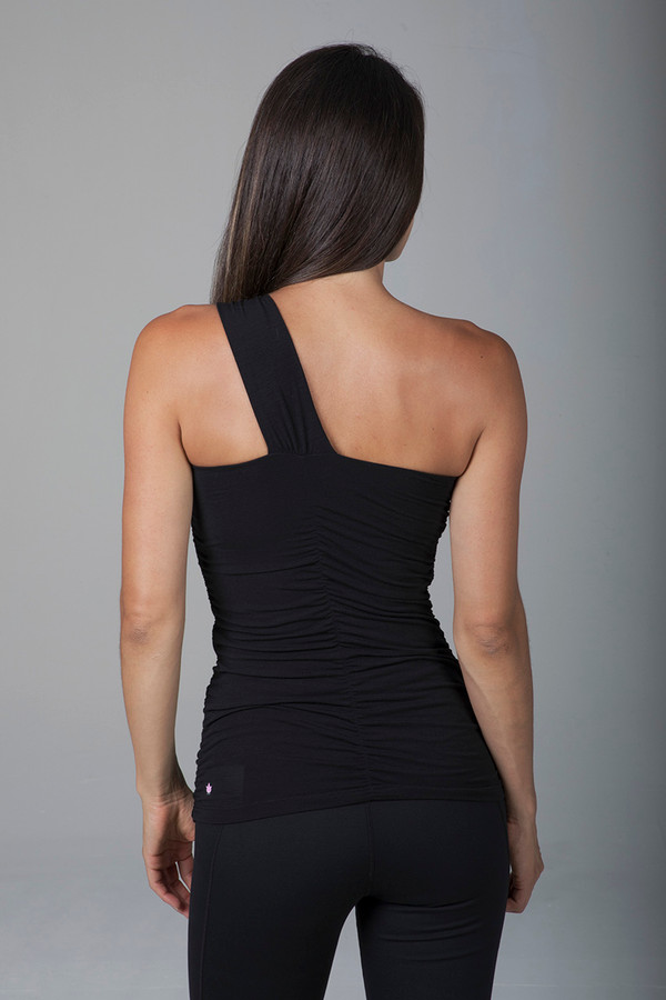 Form Fitting One-Shoulder Black Tank Top back view