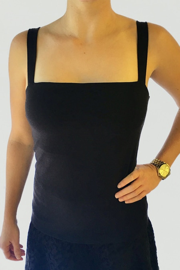 KiraGrace Grace Refined Yoga Cami in Black detail