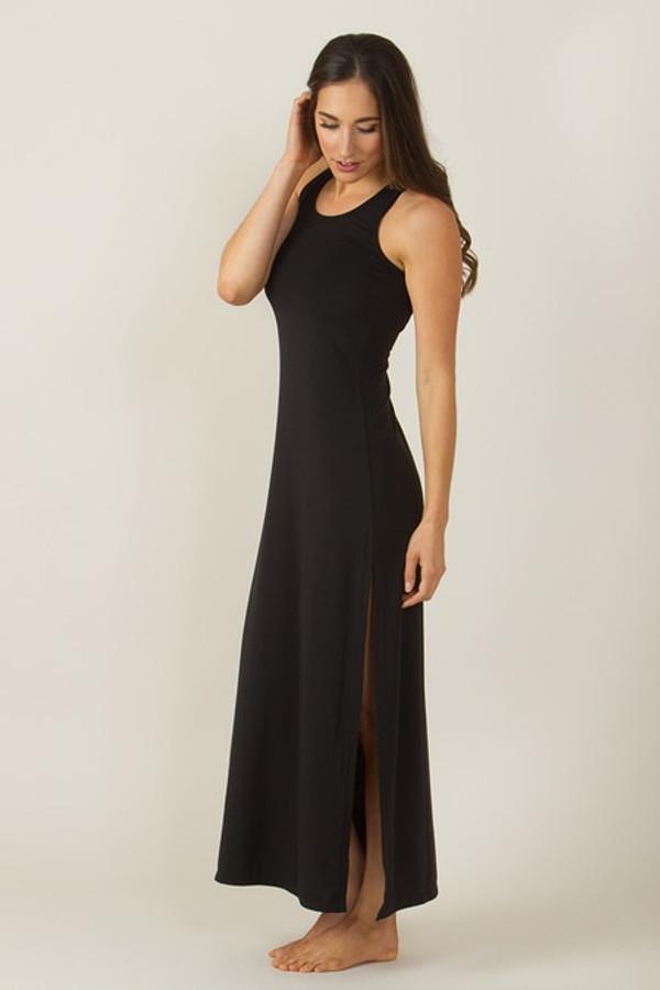 KiraGrace Long Racerback Yoga Dress (Black)