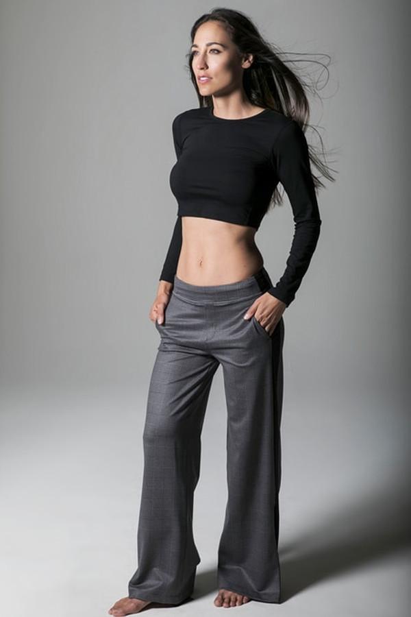 Sevari Track Pant in Glen Plaid print with Black Long-Sleeve