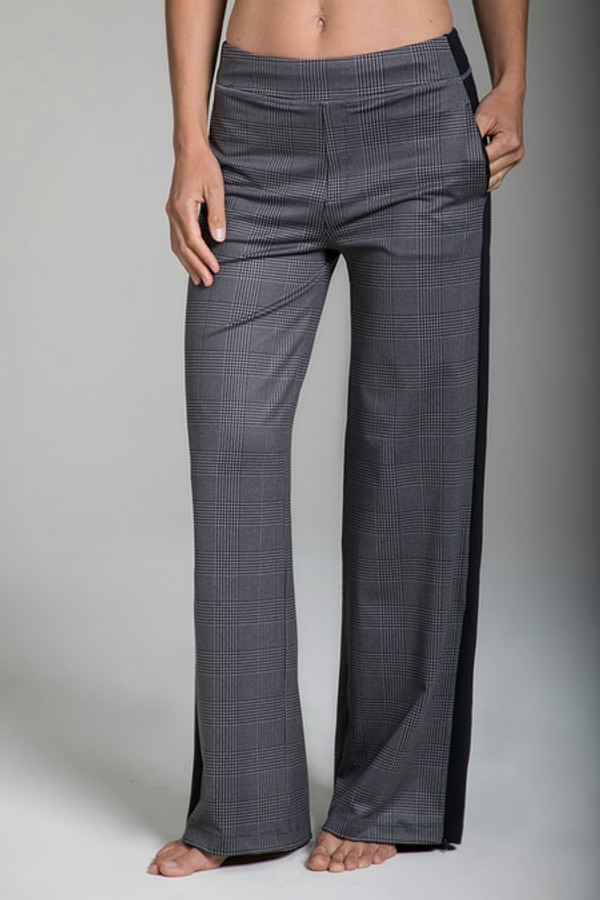 Plaid Pattern Track Pant with Side Pockets front view