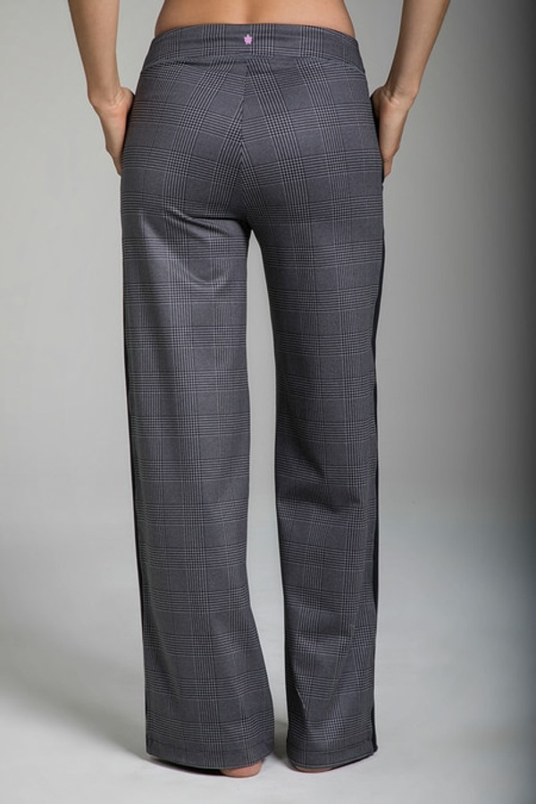 Back view of the KiraGrace Seva Track Pant in Glen Plaid print