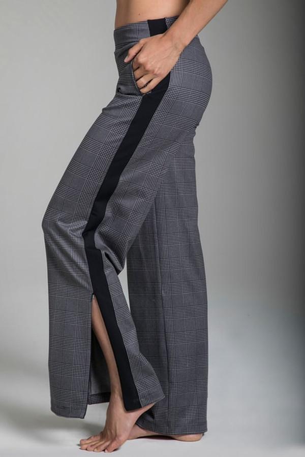 Glen Plaid Yoga Slacks with Side Zipper Closure and Pockets