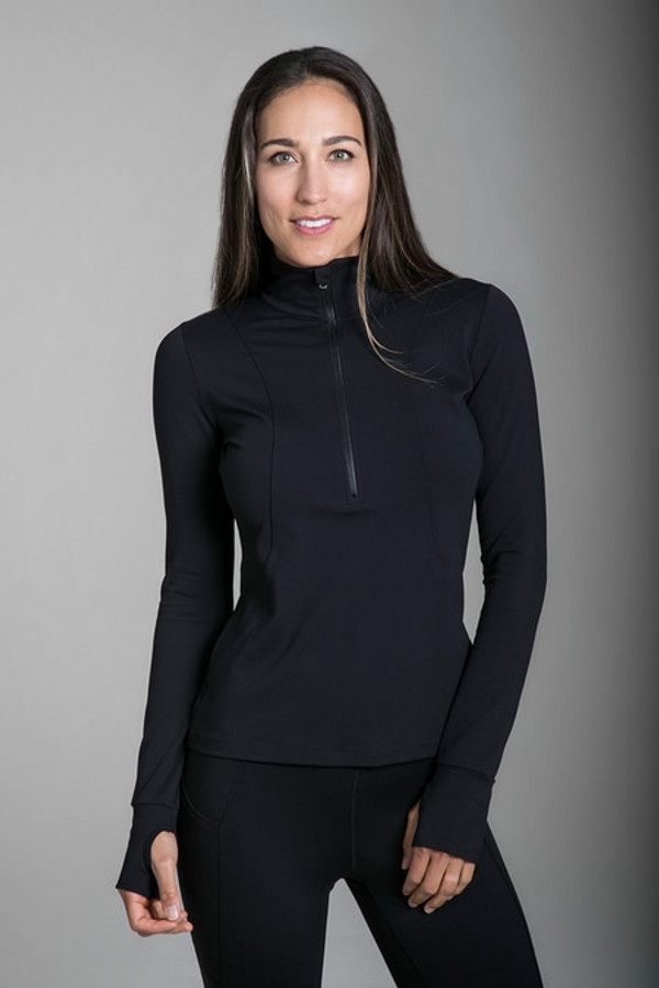 Grace Half Zip Pullover in Black
