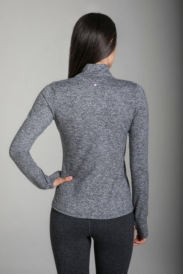Grace Half Zip Pullover in Grey Heather