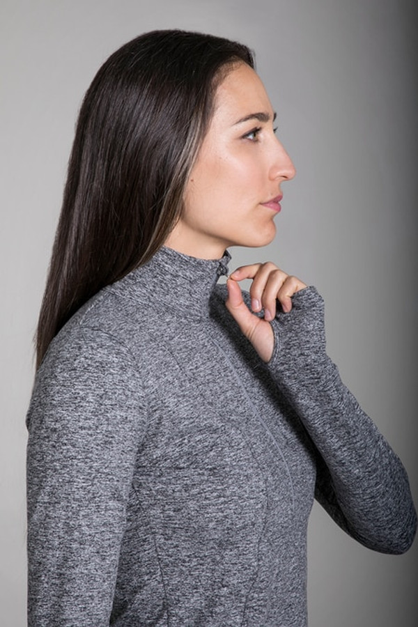 Zipper and thumbhole details of the Grace Half Zip Pullover in Grey Heather