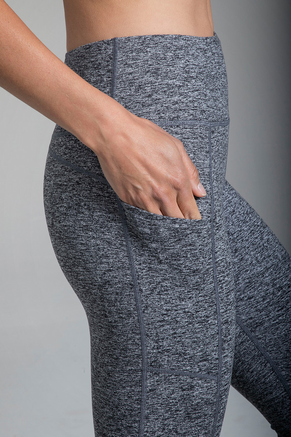 Pocket detail of the Pocket Yoga Tight in Grey Heather