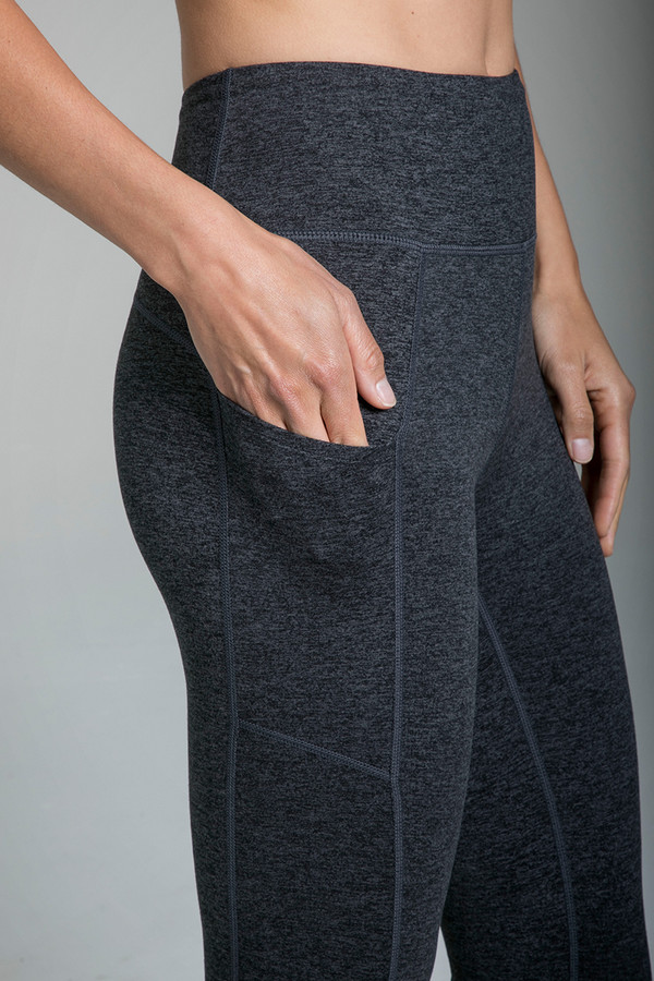 Pocket detail of the Pocket Yoga Tight in Charcoal Heather