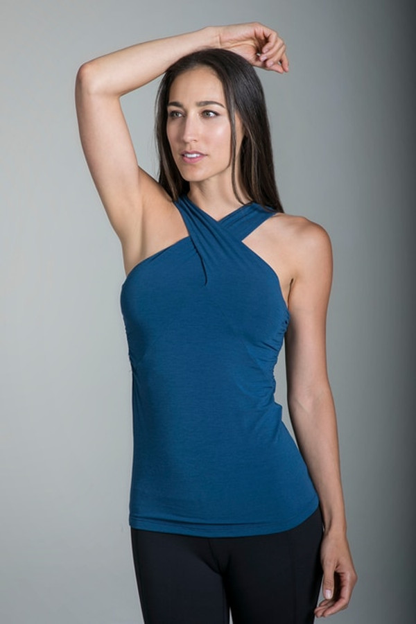 Glamour Goddess Luxe Yoga Halter in Blue Abyss