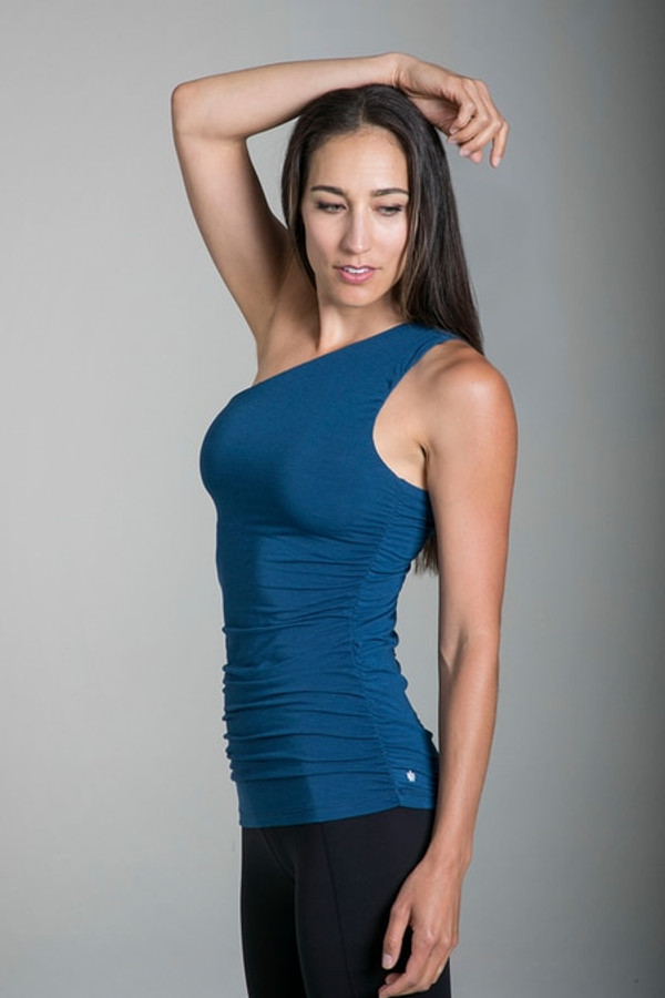 Goddess Luxe One Shoulder Yoga Top in Blue Abyss