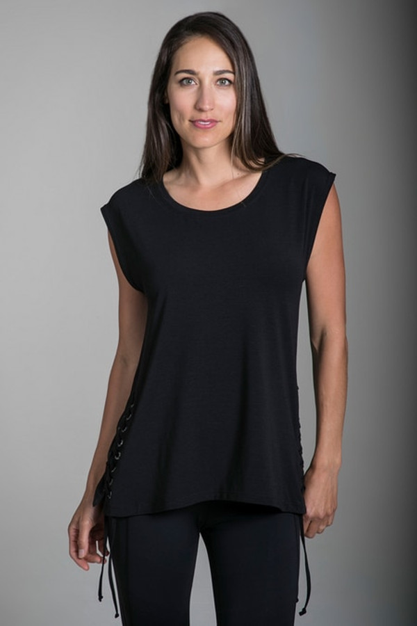 Dolman Lace-Up Black Tunic
