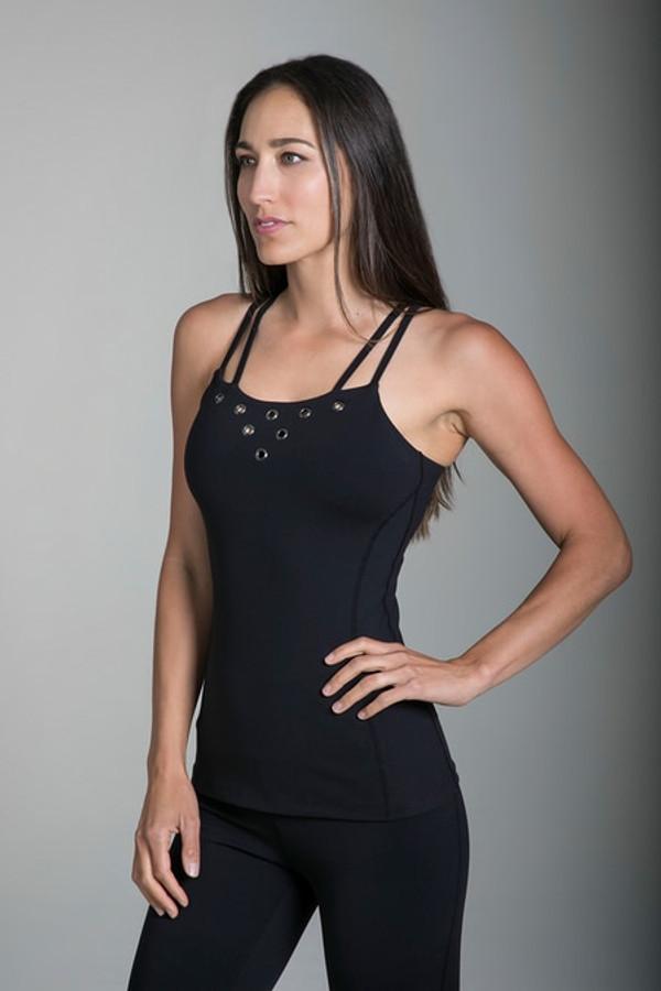 Grommet Yoga Cami in Black