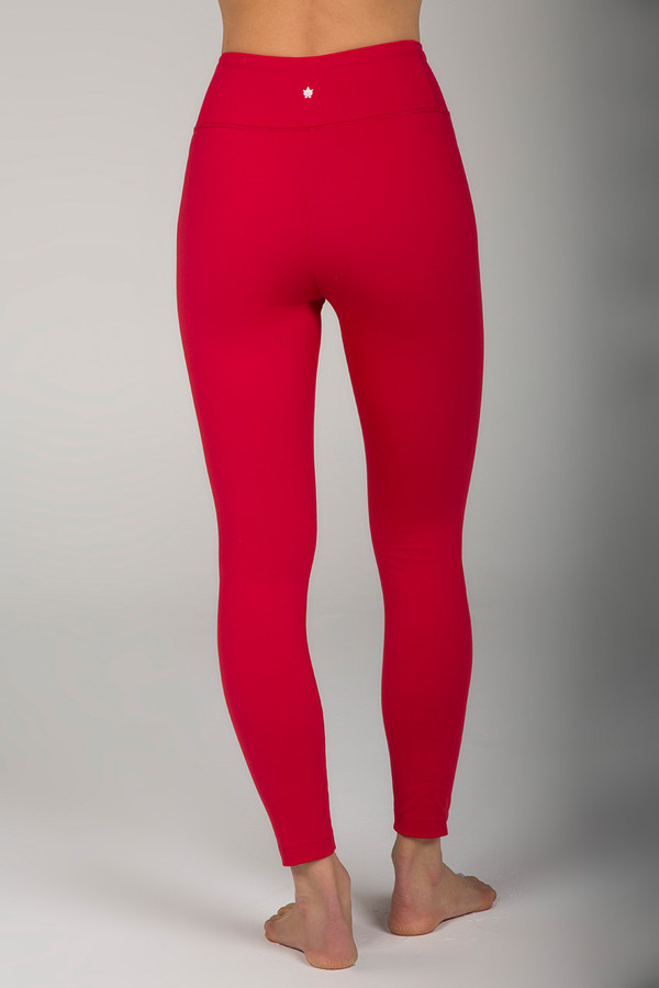 High Waisted 7/8 Yoga Pants in Red Hot Ruby back view