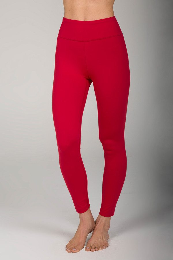 Red High Rise Yoga Tights Activewear front view