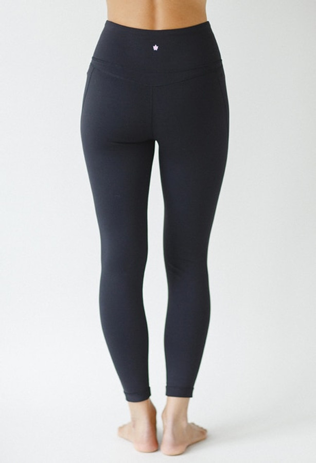 High Rise 7/8 Yoga Tights in Black back view
