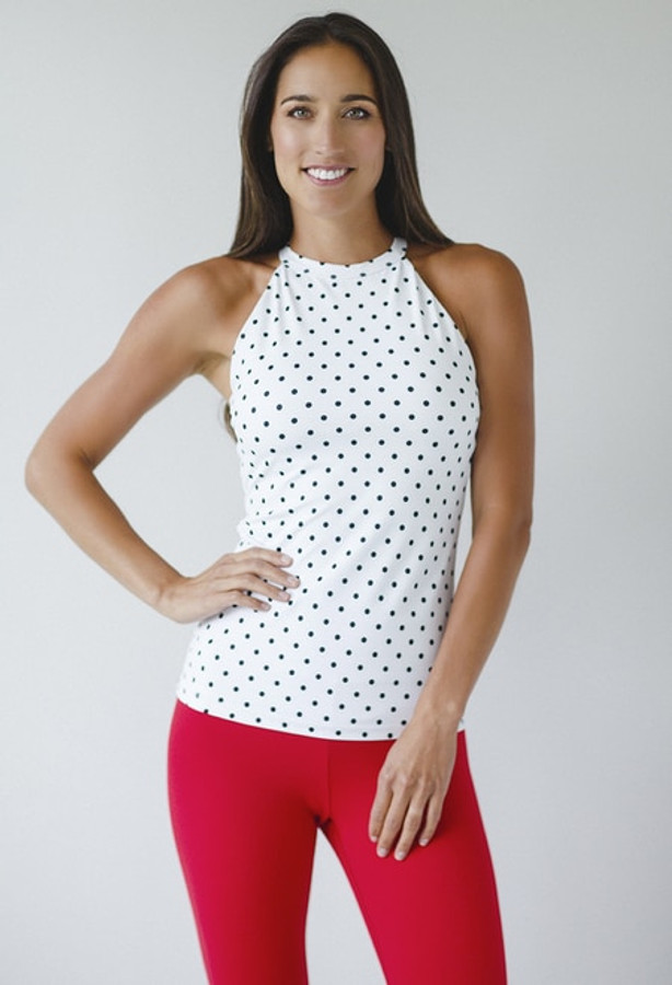 KiraGrace Grace Yoga Halter in White Dot Print