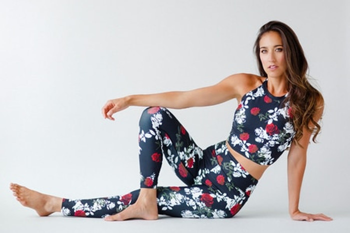 Grace Yoga Halter Crop Top in Black Beauty Rose Print